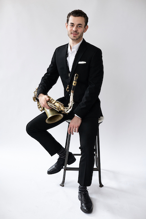 Nick Myers with his Saxophone